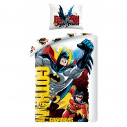 BED SET Duvet Cover BATMAN And ROBIN Gotham Guardian 140x200 COTTON Single Bed Original