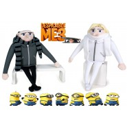 COUPLE 2 Big Plushies 43cm GRU and DRU Brothers from DESPICABLE ME 3 Original Minions
