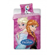 Cotton DUVET COVER Bed SET Frozen ANNA and ELSA with PINK Background ORIGINAL Disney