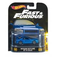 FAST FURIOUS Modellino Auto NISSAN SKYLINE GT-R R34 Blu 1:64 Hot Wheels MATTEL DWJ88