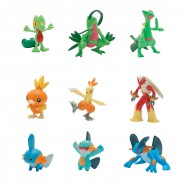 POKEMON Box 9 FIGURE 4cm EVOLUZIONI Treecko + Torchic + Mudkip Originali TOMY