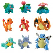 POKEMON Box 9 FIGURE 4cm EVOLUZIONI Bulbasaur + Charmander + Squirtle Originali TOMY T19051
