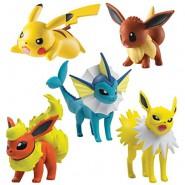 POKEMON Box 5 FIGURES 4cm Vaporeon Eevee Pikachu Flareon  Jolteon TOMY T19051