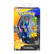 POKEMON Box 4 FIGURES Greninja + Dedenne + Pikachu + Core Original TOMY T19148