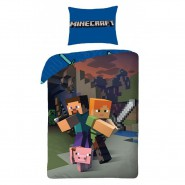 MINECRAFT Single Bed Set STEVIE ALEX and PIG Original DUVET COVER 140x200cm Cotton OFFICIAL