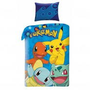 POKEMON Pikachu Charmander Blastoise BED SET Cotton DUVET COVER 140x200cm ORIGINAL