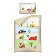 Bed Set BABY Disney CARS ROAD Strada McQueen Saetta Mater Luigi DUVET COVER 100x135 Cotton YELLOW SIDES