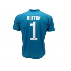 free shipping c2ae1 8f09c BUFFON Number 1 Goalkeeper JUVENTUS 2017/2018 T-Shirt Jersey BLUE AWAY  Official Replica