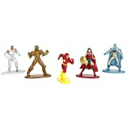 SUPER EROI DC COMICS Set 5 Mini Figure IN METALLO 4cm PACK A Wonder Woman Flash Batman Originali JADA Toys NANO Metalfigs