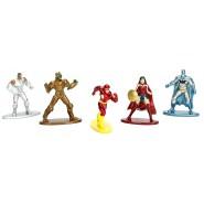 SUPER EROI DC COMICS Set 5 Mini Figure IN METALLO 4cm PACK A Wonder Woman Flash Batman Originali JADA Toys NANO Metalfigs