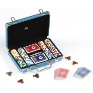 POKER Metal CASE for CHIPS Fiches BLUE with 200 Chips + 2 Decks + 5 dices DAL NEGR 02451