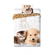 Single BED SET Cotton Duvet Cover DOG and CAT Best Friends Animal 160x200cm