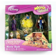 SET 6 Figure di BIANCANEVE con Diorama DISNEY Micro World MOVIE BOOK Giochi Preziosi SETTE NANI