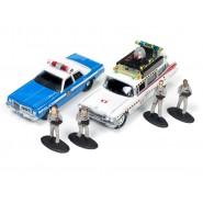 GHOSTBUSTERS Box Diorama 4 Figure e 2 Modelli Auto ECTO-1A + Auto Polizia Scala 1:64 Originale Johnny Lightnining