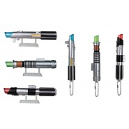 Set 6 Mini LIGHTSABER Collection MASCOT Keychain STAR WARS Led Light BANDAI