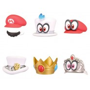 Set 6 Cappelli BOTTLE CAPS Collection SUPER MARIO Odyssey NINTENDO Tomy HATS Bros
