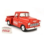 Modello DieCast Camioncino COCA COLA Chevy 5100 Stepside 1955 Scala 1/24 Originale Motor City