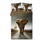 Bed Set ELEPHANTS 4D Cotton Perkal SINGLE Duvet Cover 160x200cm and 2 Pillow Covers