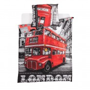 BED SET Duvet Cover LONDON BUS 160x200cm COTTON Original
