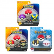POKEMON Set 3 Sfere THROW AND CATCH Pokeball GLOW IN THE DARK Ufficiale TOMY