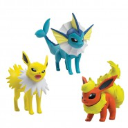 POKEMON Box 3 FIGURE Vaporeon + Jolteon + Flareon Originali TOMY Battle Play