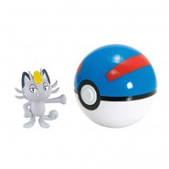 Pokemon MEOWTH Alola ALOLAN Figura 4cm + Great Poke BALL Sfera Originali TOMY Carry PokeBall