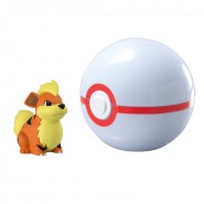 Pokemon GROWLITHE Figura 4cm + PREMIER Poke BALL Sfera Originali TOMY Carry PokeBall