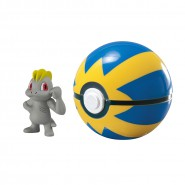 Pokemon MACHOP Figure 4cm + QUICK Velox POKE BALL Original TOMY Carry PokeBall