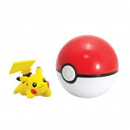 Pokemon PIKACHU LYING DOWN Figure 4cm + POKE BALL Original TOMY Carry PokeBall