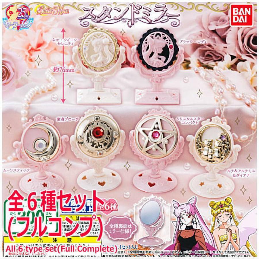 SAILOR MOON Set  6 Miniature SPECCHI Collezione STAND MIRROR Gashapon BANDAI New