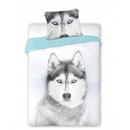 Single BED SET Cotton Duvet Cover HUSKY DOG Animal and Nature 160x200cm