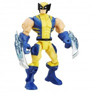PLAYSET Giocattolo Figura Action 16cm WOLVERINE TUTA GIALLA BLU Marvel SUPER HERO MASHERS Hasbro