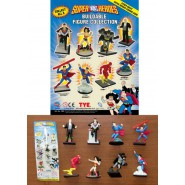 Set 8 Mini Figure SUPER EROI DC COMICS 4cm Superman Batman Flash Wonder Woman Lex Luthor