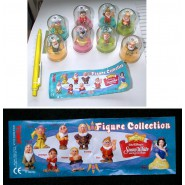 Complete SET 8 Figures SNOW WHITE and 7 DWARFES Disney WITH DOME Original TOMY