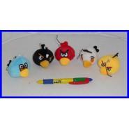 ANGRY BIRDS Set 5 Mini PELUCHE con LACCETTO 4cm Rosso Bianco Giallo Azzurro Nero ORIGINALI Rovio