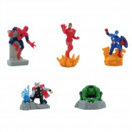 AVENGERS Complete SET 5 Mini FIGURE Spide rman Iron man Captain America Hulk Thor 7cm 2.5'' ORIGINAL  MARVEL CAKE TOPPERS