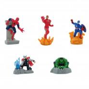 AVENGERS SET Completo 5 Mini FIGURE Spider man Iron man Capitan America Hulk Thor 7cm ORIGINALI MARVEL Anche Per TORTA