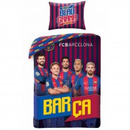 Single BED SET Cotton Duvet Cover F.C. BARCELONA Original 140x200cm (55''x79'') and Pillow Cover 70x90cm (27''x35'')