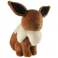 POKEMON EEVEE Closed Eyes Plush 17cm (6.5'') ORIGINAL Tomy