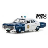 HAWAII FIVE-O Modello DieCast Auto Polizia FORD CUSTOM 500 del 1967 Scala 1/64 ORIGINALE Greenlight
