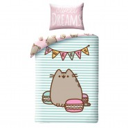 Set Letto PUSHEEN SWEET DREAMS Gatto Emoticon COPRIPIUMINO e FEDERA Cotone 140x200