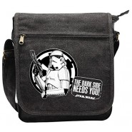 "STAR WARS Borsello a Tracolla Due Tasche con Zip ""Troopers Dark Side Needs You"" 23x27cm Originale Ufficiale"