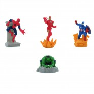 AVENGERS SET 4 Mini FIGURE Spider man Iron man Capitan America Hulk 7cm ORIGINALI MARVEL Anche Per TORTA