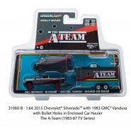 A-TEAM Set Car Models GMC VANDURA VAN With CAR HAULER Scale 1:64 Greenlight
