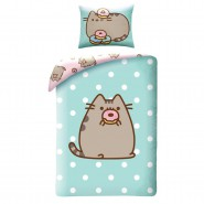 BED SET Duvet Cover PUSHEEN with DONUT Cat Emoticon 140x200 COTTON