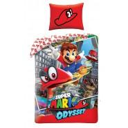 Set Letto SUPER MARIO ODYSSEY Ufficiale Nintendo COPRIPIUMINO e FEDERA Cotone 140x200