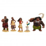 BOX Set 6 characters 9cm OCEANIA Vaiana Maui Pua HeiHei Sina Tui DISNEY Original Jakks