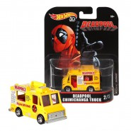 Modello Auto 7cm DEADPOOL CHIMICHANGA TRUCK Scala 1/64 DieCast ORIGINALE Hot Wheels MARVEL FLD27