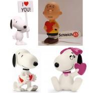 SET 4 Diverse Figure 5cm PEANUTS Love SAN VALENTINO Snoopy Charlie Brown e Belle ORIGINALI Schleich