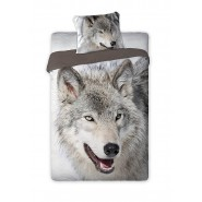 Single BED SET Cotton Duvet Cover WOLF Animal and Nature 160x200cm